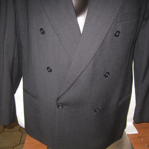 mens suit mani black pin striped italy 2 pcs lined